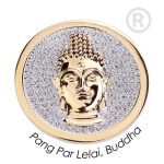 QMOA-29L-G - Quoins Jewelz Pang Par Lelai, Buddha, rhodinated Yellow Gold - Swarovski