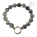 QK-J-ZW - Quoins armband regenboog Jade zwart-grijs