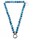QK-J-BL - Quoins collier van regenboog Jade blauw