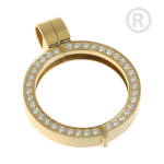 QHO-09-G - Quoins munthanger goud- klikmodel - steentjes
