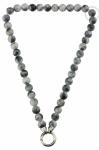 QK-J-ZW - Quoins necklace Rainbow Jade Black / Grey