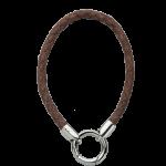 QK-L-B  - armband van gevlochten leer bruin QK-L-B