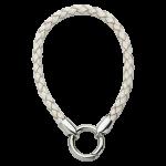 QK-L-W  - armband van gevlochten leer wit QK-L-W