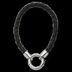 QK-L-Z - armband van gevlochten leer zwart QK-L-Z
