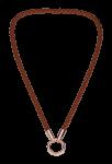 QK-L-B-R - ketting van gevlochten leer bruin met rosé eindkapjes