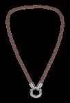 QK-L-T  - ketting van gevlochten leer taupe-kleur