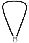 QK-L-Z  - ketting van gevlochten leer zwart QK-L-Z