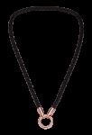 QK-L-Z-R - ketting van gevlochten leer zwart met rosé eindkapjes